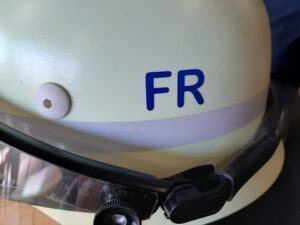 Helm von Christoph Vogt First Responder in der Freiwilligen Feuerwehr Buxtehude Zug II Vermögensverwalter und Retter